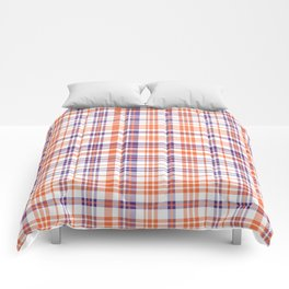Varsity plaid purple orange and white clemson sports college football universities Comforters