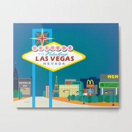 Las Vegas, Nevada - Skyline Illustration by Loose Petals Metal Print