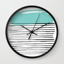 Lines in Black and Turquoise Wall Clock