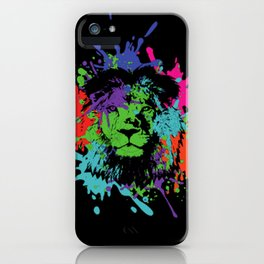 Lion Pop Art , African Lion Pop Art with colorful spots and splashes iPhone Case