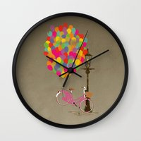 brompton Wall Clocks featuring Love to Ride my Bike with Balloons even if it's not practical. by Wyatt Design