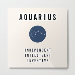 Horoscope Square: Aquarius Metal Print