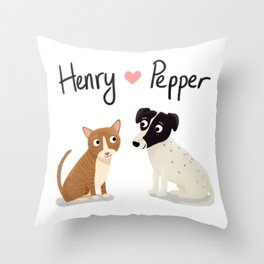 "Custom ""Henry and Pepper"" Dog and Cat Throw Pillow"