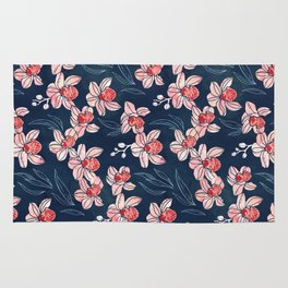 Orchid garden in peach on navy blue Rug