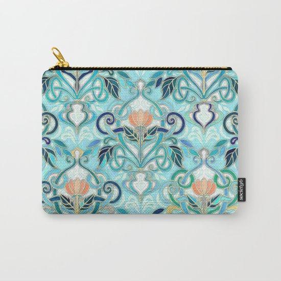 Ocean Aqua Art Nouveau Pattern with Peach Flowers Carry-All Pouch