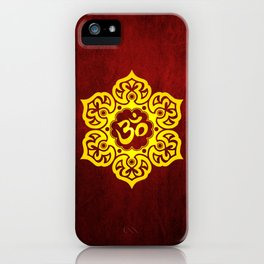 Vintage Scratched Yellow and Red Lotus Flower Yoga Om iPhone Case