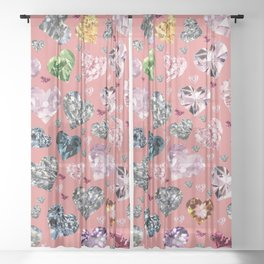 Heart Diamonds are Forever Love Pink Sheer Curtain