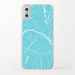 Paris France Minimal Street Map - Turquoise Blue Clear iPhone Case