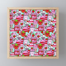 Kawaii Strawberries Framed Mini Art Print