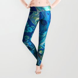 Fluid Nature - Marine Odyssey - Abstract Acrylic Art Leggings