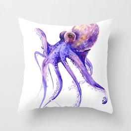 Octopus, purple pink decor Throw Pillow