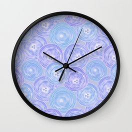 Blue and lilac anemones . Wall Clock