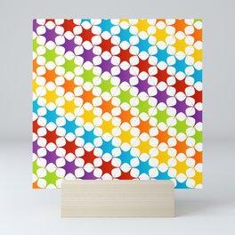 Cute colorful star seamless pattern on white Mini Art Print