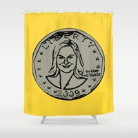 parks Shower Curtains featuring Leslie Knope  |  Susan B. Anthony Coin  |  Parks and Recreation by Silvio Ledbetter