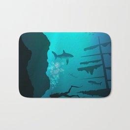 Beautiful coral reef and silhouettes of diver and school of fish in a blue sea Bath Mat