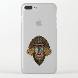 Metallic mandrill ape portrait Clear iPhone Case