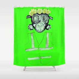 Gas Mask with flowers and Yellowvest Shower Curtain