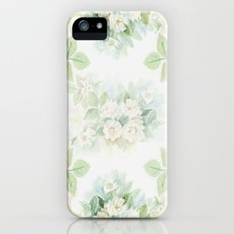 White roses bouquet watercolour painting iPhone Case
