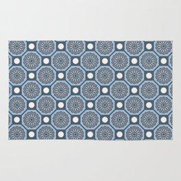 Flores de Algarve Portuguese Flower Azulejo Tile Pattern Rug