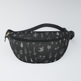 Black wildflowers Fanny Pack