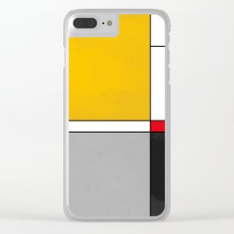 Mid century Modern yellow gray black red Clear iPhone Case
