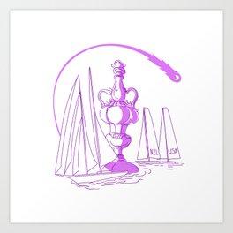 Yachting Championship Cup Drawing Art Print