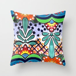 Colorful Talavera, Green Accent, Large, Mexican Tile Design Throw Pillow