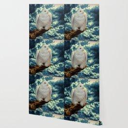 Snowy Owl against Aqua Sky Country Decor A147 Wallpaper