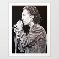 eddie vedder Art Prints featuring Eddie Vedder - Pearl Jam by whiterabbitart