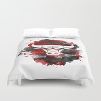 chicago bulls Duvet Covers featuring Bulls Splatter by OhMyGod, SoGood!