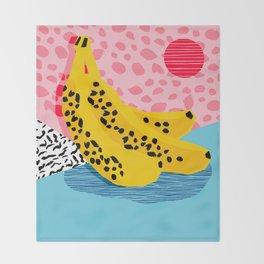 What It Is - memphis throwback banana fruit retro minimal pattern neon bright 1980s 80s style art Throw Blanket