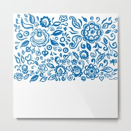 Beautiful folk art floral ornament with blue flowers on white background Metal Print