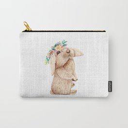 Pretty Floral Garland Bunny Carry-All Pouch