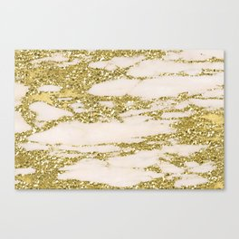 Marble - Gold Marble Glittery Light Pink and Yellow Gold Canvas Print