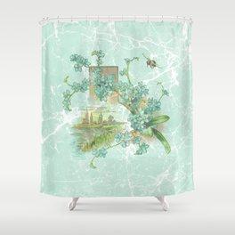 Modern vintage mint marble floral landscape Shower Curtain