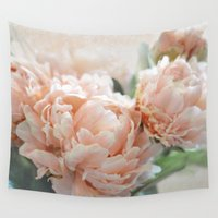peach Wall Tapestries featuring Peach Peonies by Lisa Argyropoulos