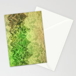 ABERDEEN HEIRLOOM, LACE & DAMASK: SPRING GREEN Stationery Cards