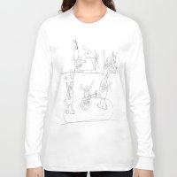 rabbits Long Sleeve T-shirts featuring Musical Rabbits by Ryan van Gogh