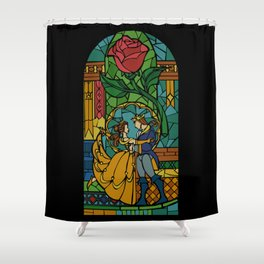 Beauty and The Beast - Stained Glass Shower Curtain