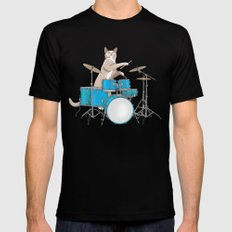 Cat Playing Drums - Blue Black Mens Fitted Tee MEDIUM