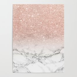 Modern faux rose gold pink glitter ombre white marble Poster