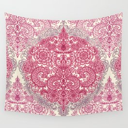 Happy Place Doodle in Berry Pink, Cream & Mauve Wall Tapestry