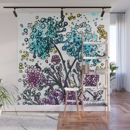Purple floral watercolor abstraction Wall Mural
