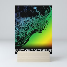 Santa Cruz de Tenerife, Spain, City, Map, Rainbow, Map, Art, Print Mini Art Print