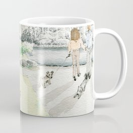 People In The City/ Dogs  Are On The Street/ A Fountain Square In The City/ Woman With A Dog Coffee Mug