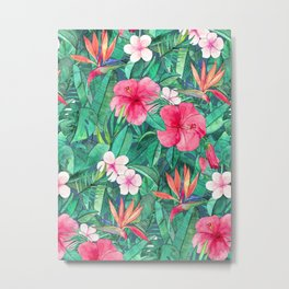 Classic Tropical Garden with Pink Flowers Metal Print