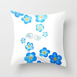 blue forget me not watercolor 2017 Throw Pillow