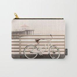 Bicycle at Manhattan Beach Pier, Riding Bikes at the Beach, Beach Art Print, California Summer Carry-All Pouch