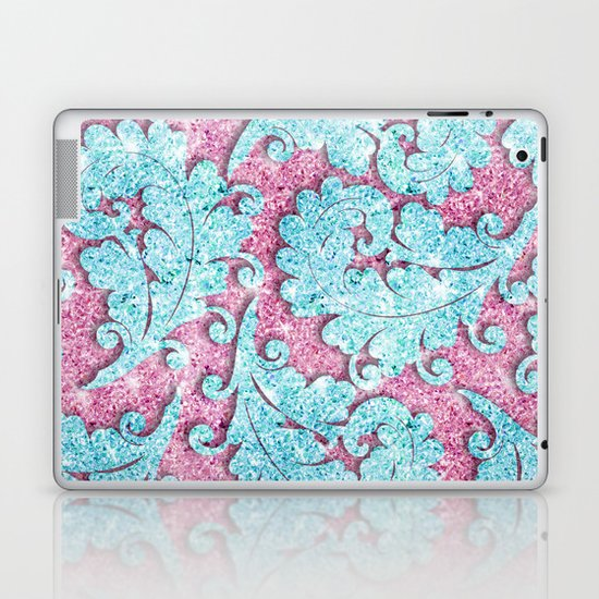 Pink Teal Glitter Girly paisley pattern photo Laptop & iPad Skin