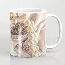 Rose Pearls Teacup Still Life Modern Cottage Chic Decor Art Matted Picture A466 Coffee Mug